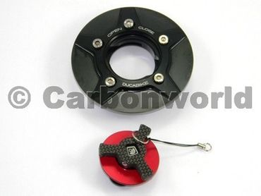 fuel tank cap black red Ducabike for Ducati Monster 696, 796, 1100, Diavel – Image 3
