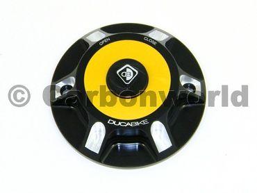 Tankdeckel schwarz gold Ducabike für Ducati Hypermotard 1100 / 796 / 821 / 939 – Bild 1
