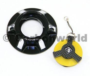 Tankdeckel schwarz gold Ducabike für Ducati Hypermotard 1100 / 796 / 821 – Bild 2