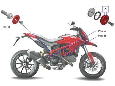 frame cap kit red CNC Racing for Ducati  Hypermotard 821 – Image 5