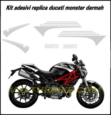 decal sticker kit Darmah Look white for Ducati Monster 696 796 1100