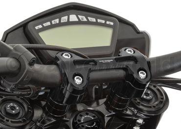 Riser completo nero (-20 mm, Ø22) CNC Racing per Ducati Hyperstrada 821 – Image 4