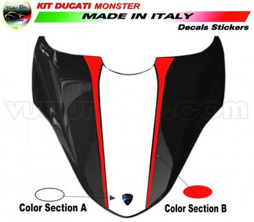 decal sticker seat cover white / red for Ducati Monster 821 1200