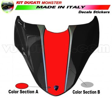 decal sticker seat cover red / silver for Ducati Monster 821 1200