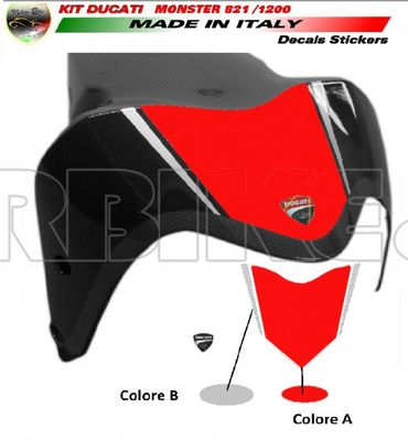decal sticker front fender red / silver for Ducati Monster 821 1200