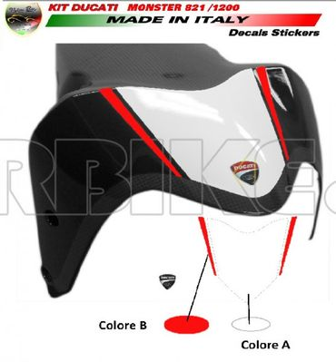 decal sticker kit white / red for Ducati Monster 821 1200 (-2016) – Image 2