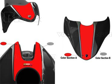 decal sticker kit red / silver for Ducati Monster 821 1200 (-2016) – Image 1