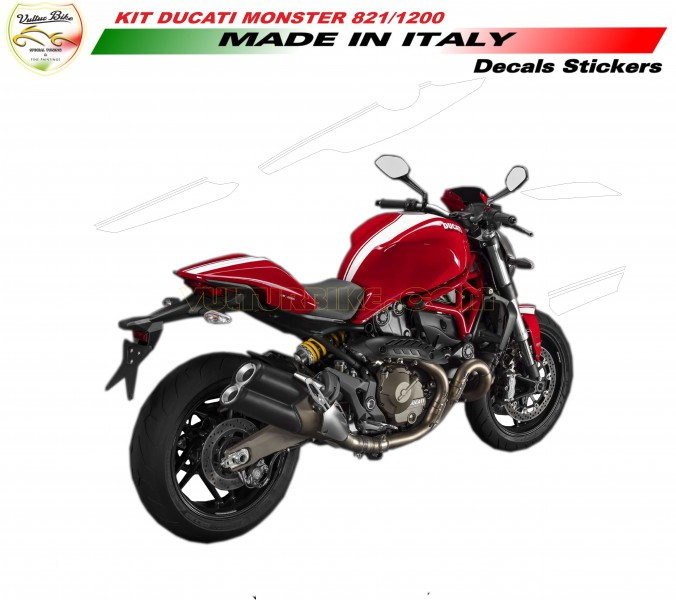 Decal Sticker Stripes Kit White For Ducati Monster 821 1200