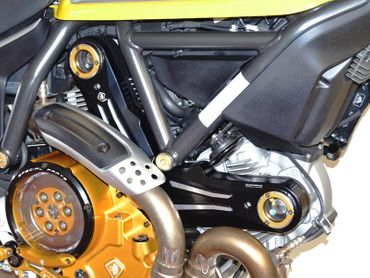 Belt cover kit black gold Ducabike for Ducati Scrambler, Hypermotard 796 – Image 3