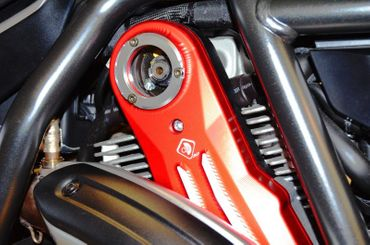Belt cover kit red silver Ducabike for Ducati Scrambler, Hypermotard 796 – Image 2