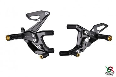 Rearset Bonamici Racing black/gold for Ducati 899 959 1199 1299 Panigale – Image 1