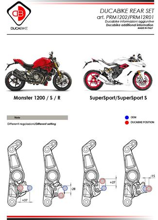 rearset silver/red Ducabike for Ducati Monster 1200 R – Image 2