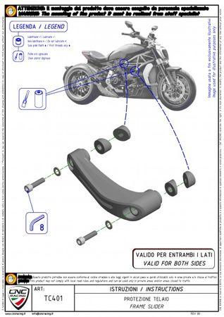 Rahmenschoner schwarz CNC Racing für Ducati XDiavel – Bild 3