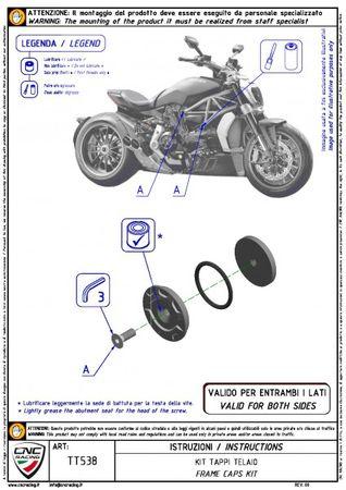 Rahmenstopfen Kit schwarz CNC Racing für Ducati XDiavel  – Bild 2