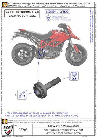 Zentralschraube Fußrastenanlage gold CNC Racing für Ducati Hypermotard 796 1100 – Bild 3