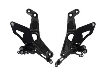 Adjustable rearset fixed footpegs black Ducabike for Ducati Monster 1200 R