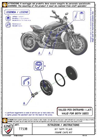 tappi telaio kit rosso CNC Racing per Ducati XDiavel – Image 2