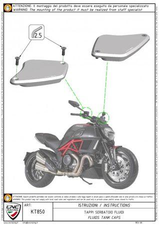 "fluid tank caps ""streaks"" black CNC Racing for Ducati Diavel, XDiavel – Image 4"