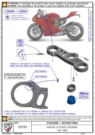 Gabelbrücke Ø 53 mm schwarz CNC Racing für Ducati Panigale – Bild 2