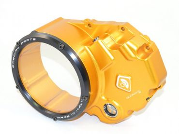 Clutch cover for oil bath clutch gold/black Ducabike for Ducati Hypermotard 939, Multistrada 950 – Image 1