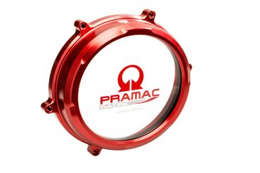 Clear oil bath clutch cover Pramac Racing Lim. Ed. red CNC Racing for Ducati Panigale 959 / 1199 / 1299 – Image 1