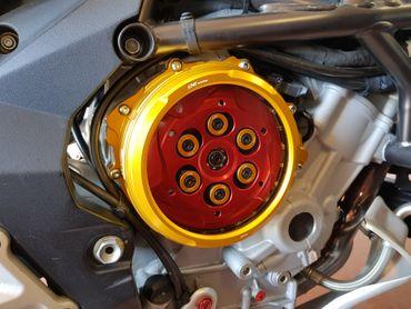 Kupplungsdeckel Clear für Ölbadkupplung gold CNC Racing für MV Agusta  – Bild 4