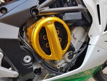 Clear oil bath clutch cover with coupling cable gold CNC Racing for MV Agusta  – Image 5