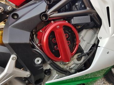 Couvercle d'embrayage Clear rouge CNC Racing pour MV Agusta  – Image 5