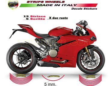 Felgenrandaufkleber rot für Ducati