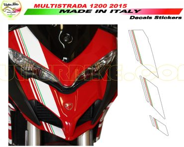 Aufkleber Frontverkleidung Streifen weiß-tricolore für Ducati Multistrada 1200 (2015-2016)