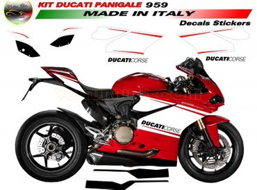 "decal sticker kit ""Ducati Corse"" for Ducati 959 Panigale (bottom exhaust) – Image 1"