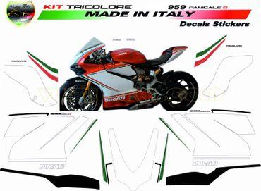 """kit stickers """"Tricolore"""" pour Ducati 959 Panigale (échappement inférieur) – Image 1"""