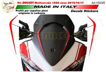 """Autocollant panneau avant supérieur """"Ducati Corse"""" rouge pour Ducati Multistrada 1200 (2015-2017) – Image 1"""
