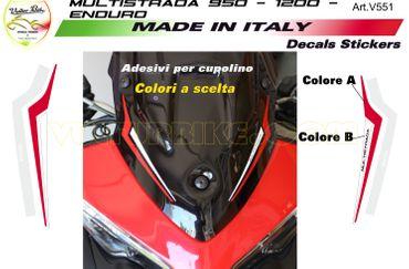 "Aufkleber Windschutz rot/weiß ""Multistrada"" für Ducati Multistrada 950/1200 DVT – Bild 1"