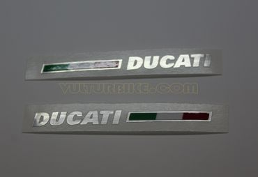 "sticker ""Ducati with flag"" silver-metal for Ducati"