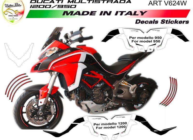 Details About Sticker Kit Whiteblack For Ducati Multistrada 950