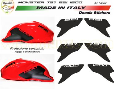 Sticker kit de protection de réservoir noir pour Ducati Monster 821