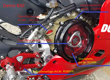 Adjustable rear sets red/silver Pramac Racing Limited Edition CNC Racing for Ducati Panigale – Image 2