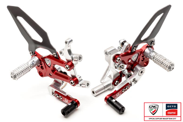 Adjustable rear sets red/silver Pramac Racing Limited Edition CNC Racing for Ducati Panigale – Image 1