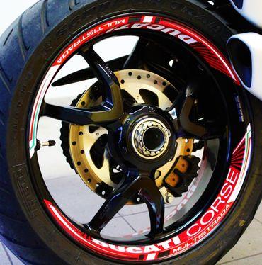 "decal sticker kit wheel stripes ""Ducati Corse"" for Multistrada 1200/1260 – Image 1"