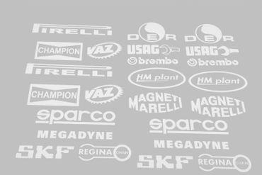 Aufkleber technische Sponsoren weiß für Ducati