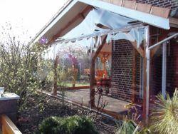Fensterplane Transparent 900 g/m² in B1 schwerentflammbar nach DIN 4102 , mit Saum und Ösen (individuell nach Maß gefertigt)