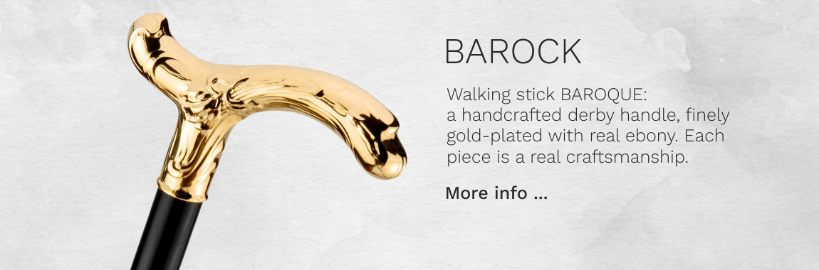 Walking stick BAROQUE, handcrafted, finely gilded derby handle, delicately chased, stick made of fine ebony, 98 cm