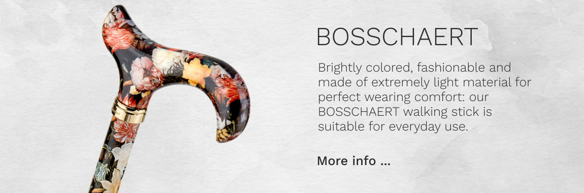 Design walking stick BOSSCHAERT colored, colorful, fashionable, height-adjustable, derby handle, light metal, precious brass ring, women and men, incl. rubberbuffer.