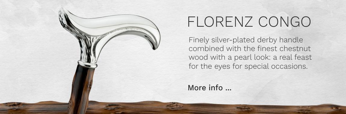 Walking stick FLORENZ , silverplated Fritz-grip, black beech wood