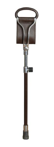 Sitzstock ASCOT,Sitzfläche aus braunem Leder, Griffe aus Metall mit Leder überzogen, Stock aus poliertem Leichtmetall, höhenverstellbar,Stocklänge 66-91 cm, Sitzhöhe 50-75 cm, inklusive stabilem Gummipuffer.