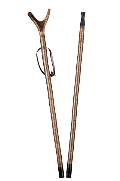 Zielstock Haselnuss mit Hirschhorngabel, 2-geteilt mit Stahlgewinde und Combispike – Bild 2