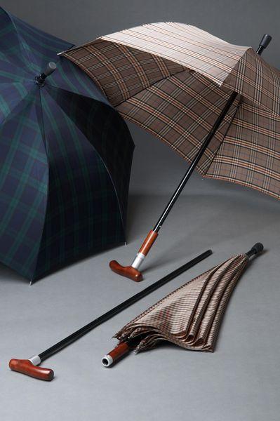 Stock-im-Schirm SAFEBRELLA DUO elegant in Karo mittelbraun, Gehstock im Schirm