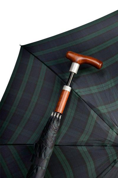 Stockschirm SAFEBRELLA DUO elegant in Karo grün/blau, Gehstock im Schirm – Bild 1
