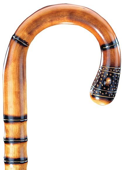 Gehstock Rundhaken Kastanie- Pfefferrohr, eleganter Stock aus englischem Kastanienholz, in einem Stück gebogen, aufwändiger Wulstenschliff und Pfefferrohrwurzel-Imitation,leicht geflammt und seidenmatt klarlackiert, inklusiv Gummipuffer. – Bild 1